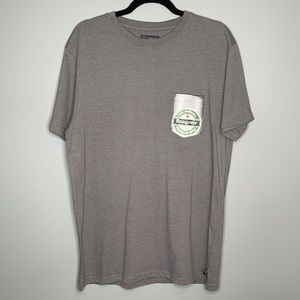Kolby grey pocket beer can graphic short sleeve crew neck cotton blend t-shirt L